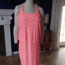 ATHLETA Neon Striped  Built-In-Bra Stretch Sports Tennis Dress L