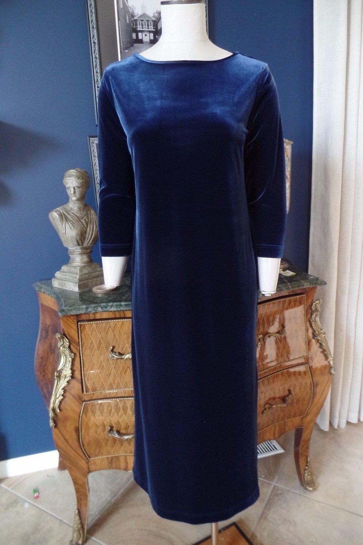 NWT TALBOTS Blue Velvet Maxi Sheath Dress SP