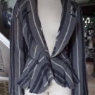 NWT FREE PEOPLE Charcoal Combo Linen Blend Striped Peplum Linen Jacket 12