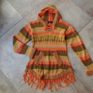ALPACA Orange Striped Hooded Fringed Front Pockets Sweater S