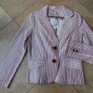 NWT CABI Striped Long Sleeve  Cotton Blend Captains Jacket Blazer 10