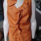 LAFAYETTE Orange 100% Linen Ruffled Sleeveless Button Front Top Shirt Blouse 12