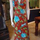 NWT VINTAGE ISLAND FASHIONS Floral Printed Halter Maxi Patio Dress M