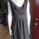 Anthropologie MAEVE Brown Ruffled Lace Sheath Dress S