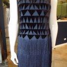 NWOT MUSE Navy Velvet Fringe Flapper Shift Dress 2