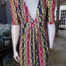 T-BAGS Los Angeles Multi Color Mod Print 100% Rayon Stretch Shift Dress L