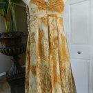 BADGLEY MISCHKA Strapless Animal/Floral 100% Silk Empire Waist Hi-Low Dress 10