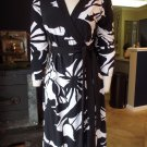 TAHARI Black/White Stretch Wrap Dress M