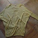 EILEEN FISHER Yellow V Neck Dolmen Sleeve Cotton/Linen Blend Sweater S