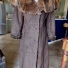 TERRY LEWIS Brown Faux Suede Shearing Long Full Length Jacket Coat S