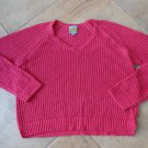 CC California Pink Knitted Crochet Boxy Oversized Loose  Sweater L