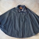 Sporto Gray Water Resistant Removable Faux Fur Collar Cape Coat one size