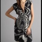 NWOT $328 Black Halo 100% Silk Dress Starburst Print Low Cut Sheath Dress 0