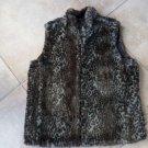 GUESS Gray Animal Print/Black Satin Reversible Faux Fur Vest L