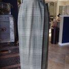 NWT Ralph Lauren Green Plaid Midi Length 100% Wool Fringe Hem Wrap Skirt 10