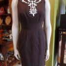 TAYLOR Brown Beaded Sheath Dress 4