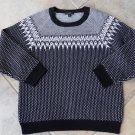 J CREW Black Printed 100% Wool 3/4 Sleeve Crewneck Sweater XL