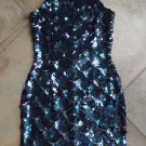 NADINE Sequin  Sleeveless Low Back Cocktail Sheath Dress S