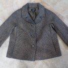 TALBOTS Brown Metallic Tweed Button Front Blazer Jacket 6
