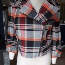 French Connection Plaid Cropped Wool Blend Motorcycle Blazer Jacket 6