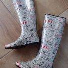 HENRY FERRERA Rubber LOVE Print Rainboots Boots SIZE 7