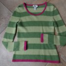 TALBOTS Green Striped 100% Cashmere Sweater S