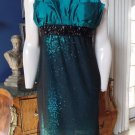 CHETTA B Green Sequins Beaded Cocktail Sheath Dress 10