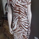 Lafayette 148 Animal Print Stretch Jersey Faux Wrap Sheath Dress M