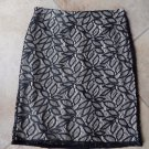ANN TAYLOR Tan/Black Lace Classic Straight  Pencil Skirt 4P
