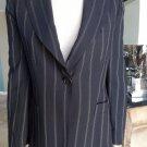 EMPORIO ARMANI Black Pinstriped Wool Blend Strong Shoulder Blazer Jacket 6