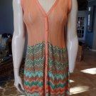 MISSONI Peach Chevron Striped Sleeveless Button Front Sweater Sheath Dress 4