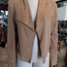 SARA BERMAN Camel Draped Studded Front Paper Thin 100% Suede Jacket M