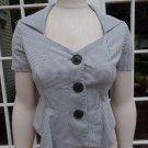 Anthropologie ELEVENSES Short Sleeve Wide Collar Peplum Blazer Jacket 2