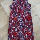 LANDS END Leaf Print Sleeveless Key Hole Neck Ponte Sheath Dress 16T