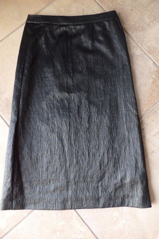 VERSUS Black Leather Wet Look Midi Length Pencil Skirt 42