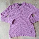KIRKLAND SIGNATURE  V-Neck Cable Knit  100% Cashmere Sweater M