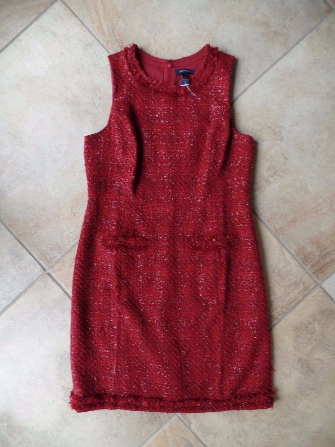NWT LANDS END Red Sleeveless Classic Tweed Sheath Dress 12