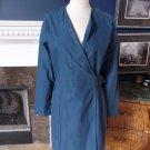 KATE SPADE SATURDAY Blue Cotton Blend Wrap Trench Rain Coat Jacket L