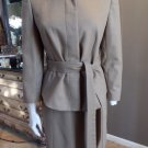 ANN TAYLOR Brown Wool Blend Tie Waist Blazer And Pencil Skirt Suit 8/10