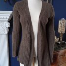 GENE MEYER Cable Knit Open Front Long sleeve 100% Cashmere Cardigan Sweater XS