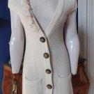 ANTHROPOLGIE TABITHA 100% Wool Longer Lenght Cap Sleeve Cardigan Sweater S