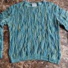 PURELY AUSTRALIAN Teal 100% Cotton Crewneck Textured Sweater S