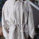 ISDA & CO Beige Linen Blend Zip Front Hooded Unlined Jacket S