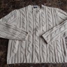J CREW Cream 100% Wool Cable Knit Ski Fisherman Crewneck Sweater L