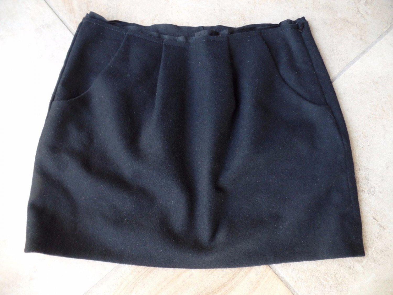 J CREW Black Flelted Wool Blend Mini Pencil Skirt 4