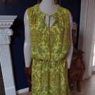 NWT BANANA REPUBLIC Yellow Paisley  Sleeveless Tie Neck Line Shift DRESS L