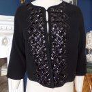 Anthropologie ELEVENSES Black Beaded 100% Wool  Cardigan Sweater Jacket M