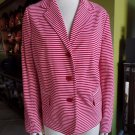TALBOTS Red & White Striped Jersey Jacket Blazer XL