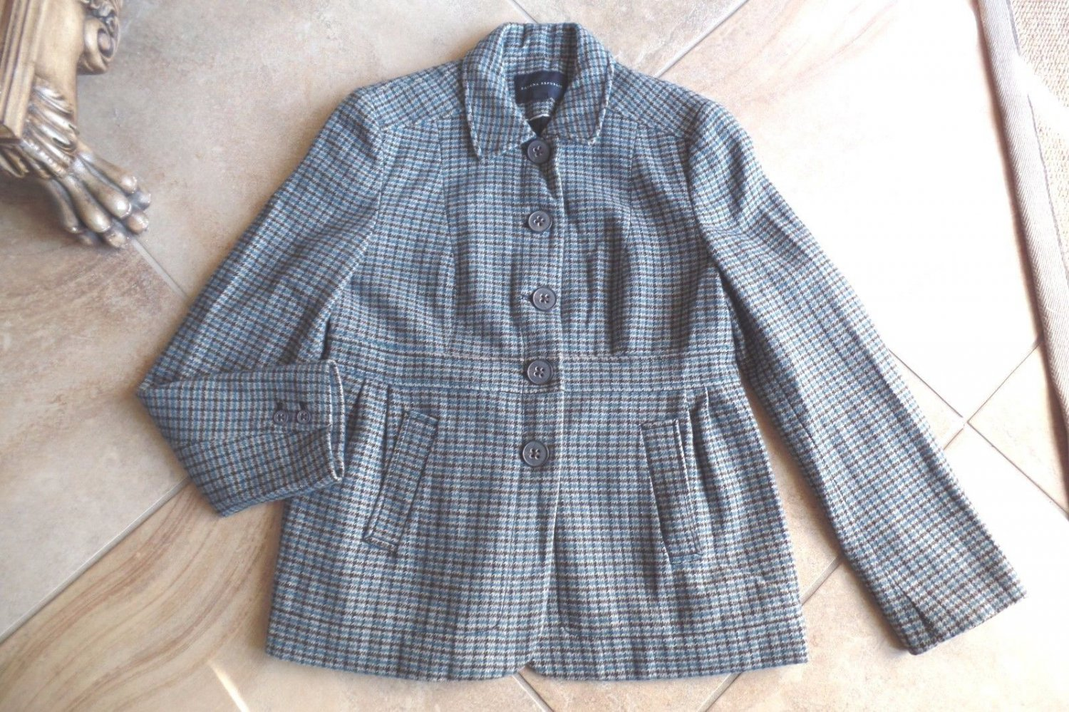BANANA REPUBLIC Tweed Hounds-tooth Button Front  Jacket 12