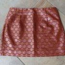 J CREW Rust Metallic Brocade  Pencil Mini Skirt 8